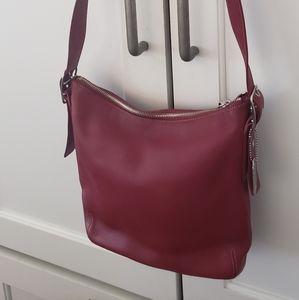 Coach 9326 Red leather slim duffle Crossbody bag
